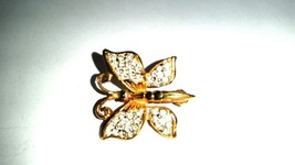 Gold Tone and Rhinestone Butterfly Small Vintage Pin - $13.19
