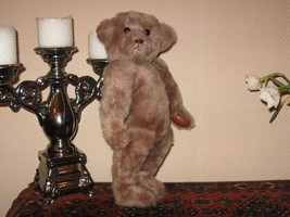 Vintage Germany OOAK Mohair Bear Leather Paws Glass Eyes 15 inch  - $217.52