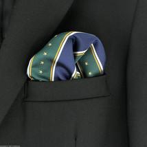 Men's Striped Pocket Square Stars & Stripes Handkerchief Navy Blue & Gre... - $12.82