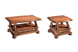 ESF Oakman Traditional Walnut Lacquer Finish Coffee and End Tables Set 2Pcs - $1,208.07