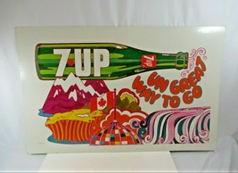 7 UP Sign VTG Peter Max Style 1970 Un Great Way to Go Canada Sign Psychedelic XL - $386.82