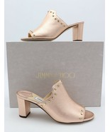 NIB Jimmy Choo Myla 65 Pink Metallic Leather Mules Sandals Gold Studs 7 37 - $393.33