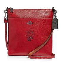 COACH Minnie Motif Messenger Crossbody Disney Leather ~NWT Red~ 37534 - $129.20