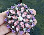 Large circle brooch Vintage pink purple brooch  Lavander and pink rhinestone pin