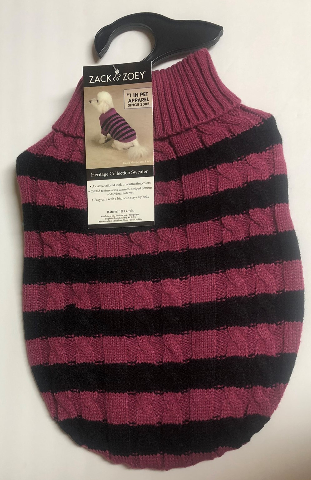 Zack & Zoey Dog Sweater Striped Fuschia Sz S or Blue XL Heritage Collection image 2