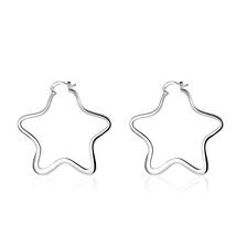 Fashion plated Jewelry Star Hoop Earrings For Women E151 - $9.79