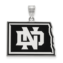Sterling Silver LogoArt University of North Dakota Large Enamel Pendant - $95.00