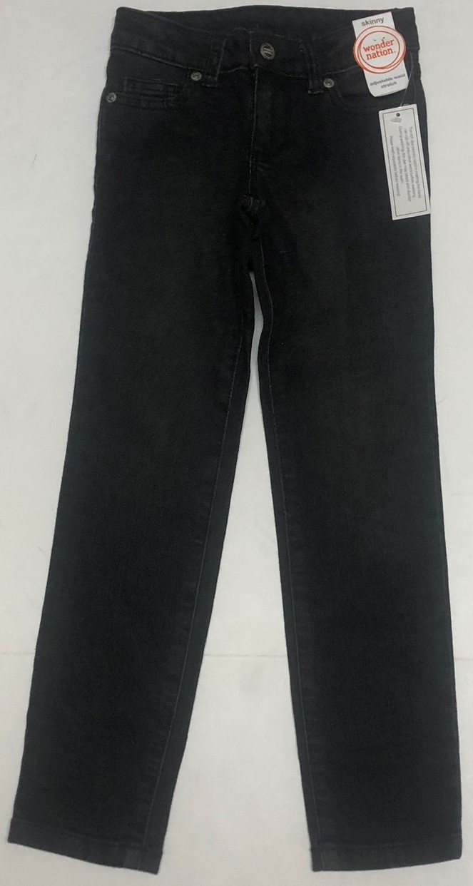 Wonder Nation Boy's Jeans Skinny Adj Waist Black Kid's Sz 6 image 2