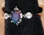 Faceted Black Opal with CZ crystals Sterling Silver handmade ring adjustable - $44.00