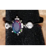 Faceted Black Opal with CZ crystals Sterling Silver handmade ring adjust... - $80.00