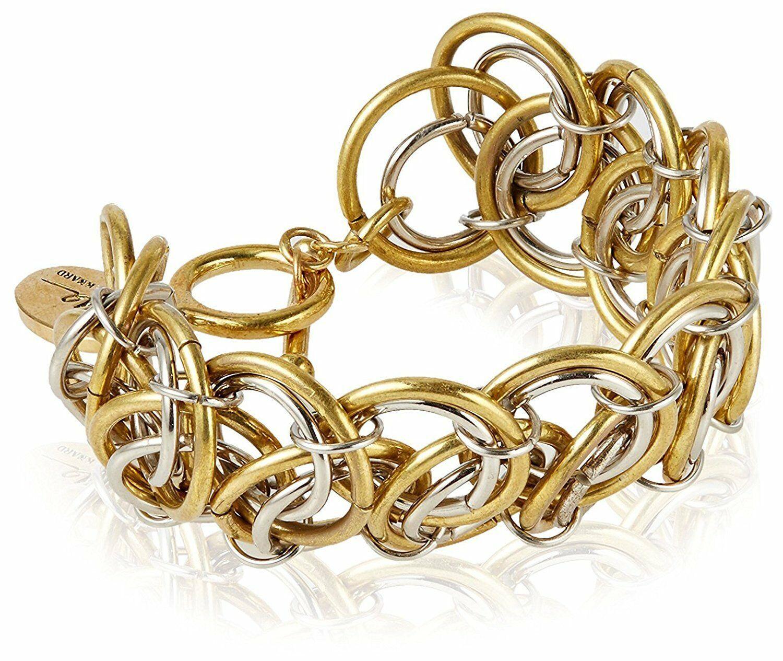 Lena Bernard Gold and Silver Tone Brass Metal Morana Bracelet NWT