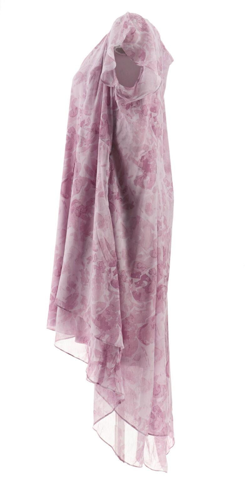 H Halston Petite Rose Print Cap Slv Hi-Low Dress French Lilac 24P NEW A303199 image 2