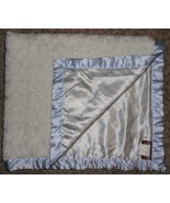 Blankets & Beyond Solid White Blue Stripes Satin White shaggy Furry Baby... - $39.57