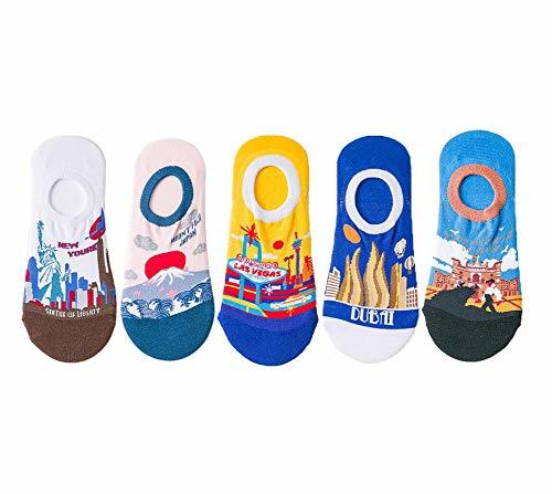 No Show Socks Low Cut Socks for Women and Men 5 Pack Novelty Famous Landscape Cr