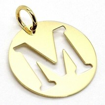 18K YELLOW GOLD LUSTER ROUND MEDAL WITH LETTER M MADE IN ITALY DIAMETER 0.5 IN image 2