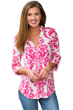 Rosy Damask Print Slight Collar V Neck Blouse  - $22.01