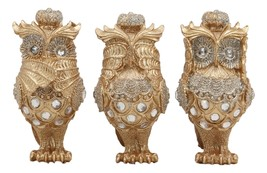 Golden See Hear Speak No Evil 3 Wise Owls With Crowns And Crystals Figur... - $26.99