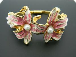 KJL Kenneth J Lane Pink Enameled Lily Flower Faux Pearl Hinge Bracelet - $98.99