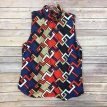 Tommy Hilfiger Blouse Sz L MultiColored Geometric TurtleNeck 100%Silk   - $18.54