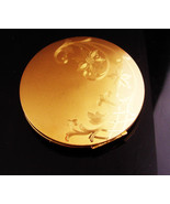 Vintage LARGE gold compact/ Elgin American / etched flowers / round comp... - $55.00