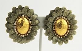 ESTATE VINTAGE Jewelry GLITTER RESIN LAYERED FLOWER RUNWAY STATEMENT EAR... - $125.00