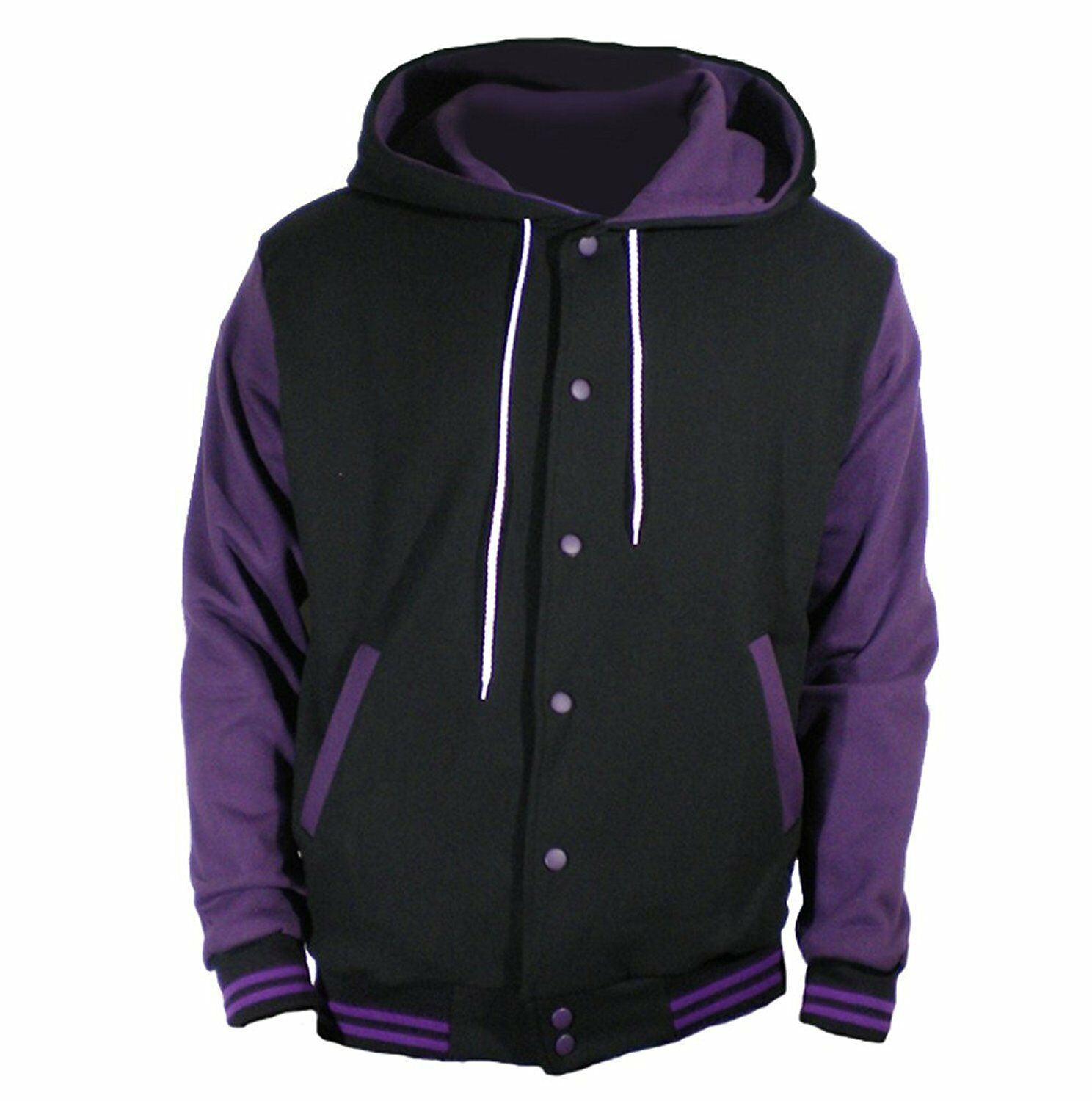 Primary image for New Black Varsity full  Wool Letterman Hoodie Purple wool  Sleeves XS-4XL