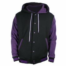 New Black Varsity full  Wool Letterman Hoodie Purple wool  Sleeves XS-4XL - $55.00+