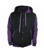 New Black Varsity full  Wool Letterman Hoodie Purple wool  Sleeves XS-4XL - $55.00+