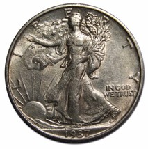 1937S Walking Liberty Half Dollar 90% Silver Coin Lot# MZ 4626