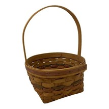 Longaberger 1989 Medium Basket with Fixed Handle Red and Green Accents - $14.84