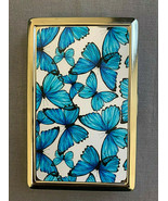 Blue Butterfly Wallpaper Silver Metal Cigarette Case RFID Protection Wallet - $13.81