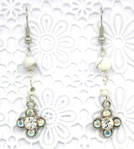 Women New Clover Clear White Swarovski Elements Crystal Gemstone Pierced... - $30.77 CAD