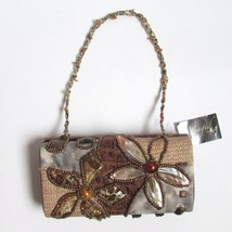 Magid Evening Brown Rectangle Beaded Flowers Beaded Strap Bag Nwt - $29.86
