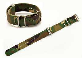 20mm watch band FITS Luminox watches GREEN camouflage Nylon Woven 4 Rings  - $15.95