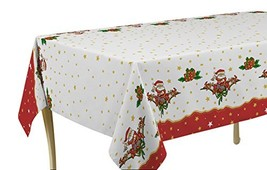 60 x 80-Inch Rectangular Tablecloth White and Red Christmas Santa with G... - $17.68