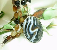 Brown Black Banded Agate Oval Beaded Necklace Pendant 23 inch - $55.00
