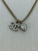 Auth rhinestone heart charm Ha Galle strange necklace stainless GLD - $379.66
