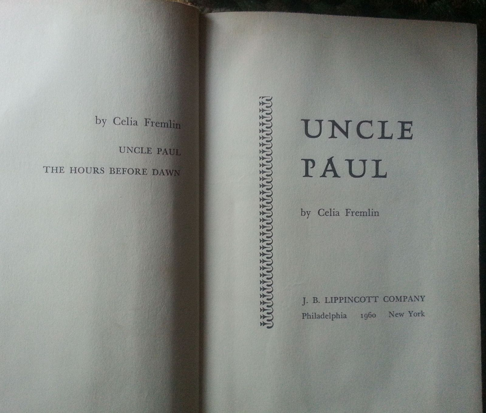 Uncle Paul by Celia Fremlin 1960 HBDJ  Impending Calamity?