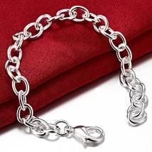 Fashion Women Silver Bracelet 925 Silver Color Bracelet Simple Style Design Soli - $15.17