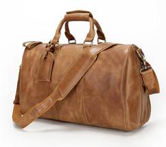 "Men Genuine Leather 17"" Travel Carry Tote Shoulder Luggage Duffle Gym Bu... - $109.29"