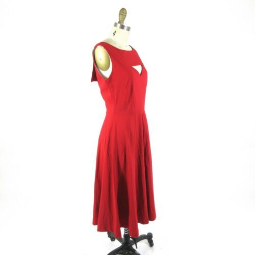 M - TATYANA Red & White MEGAN Open Front Circle 50's Retro Pin Up Dress 0811AL