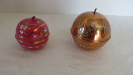 2 Christmas Brass Tone Hand Painted Ball Ornament - $7.69