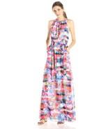 Jessica Simpson Halter Blouson Maxi Dress Womens size 2 Colorful Chiffon xs - $33.57