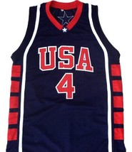 Allen Iverson #4 Team USA Basketball Jersey Navy Blue Any Size image 4
