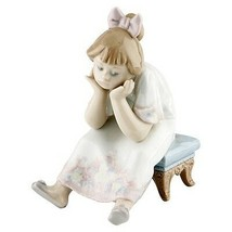"""Lladro #5649 """"Nothing to Do"""" Figurine, Young Bored Girl Sitting on Stool... - $178.20"""