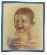 """Vintage Print of Cute Baby Entitled: """"Play Ball"""" -- Colorful - $0.99"""