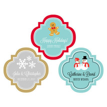 50 Personalized Christmas Themed Holiday Wedding Party Favor Label Asst.... - ₨2,894.84 INR