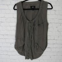 H&M Camisa Top Mujer 4 Marrón Claro Gris Moto - $33.19