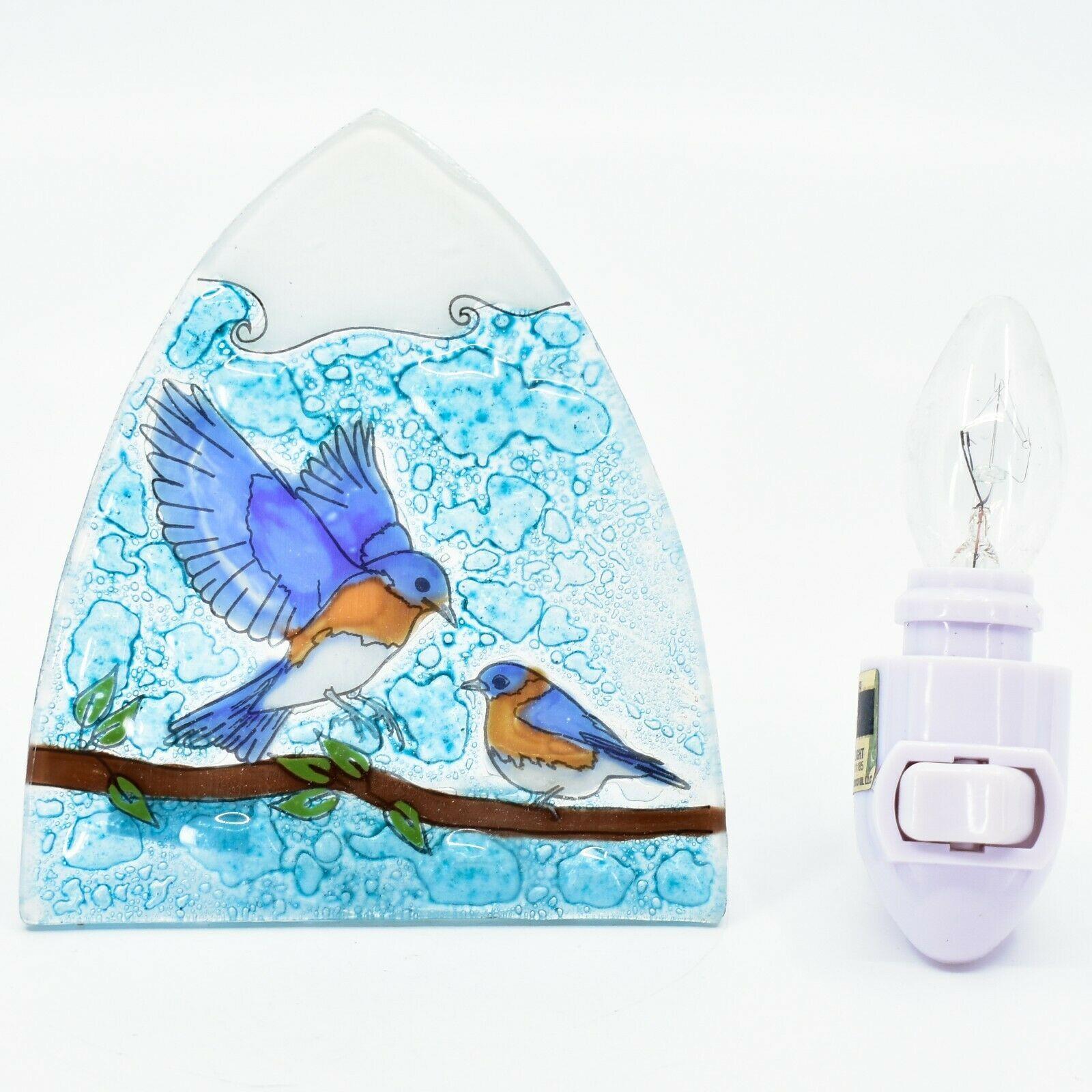 Handmade Fused Art Glass Bluebirds Blue Birds Nightlight Night Light Ecuador