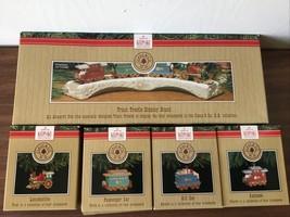 "1991 Hallmark Keepsake Ornaments ""CLAUSE & CO R.R."" 5-pc Train & Trestle Set H - $22.27"